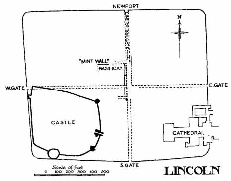 FIG. 26. LINCOLN, OUTLINE OF ROMAN WALLS