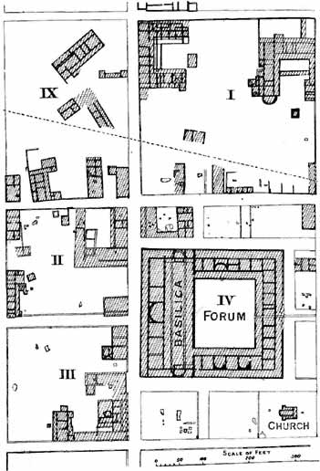 FIG. 32. DETAILS OF FOUR INSULAE, THE FORUM AND THE CHURCH AT SILCHESTER